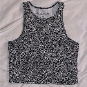 black and white flower cropped tank